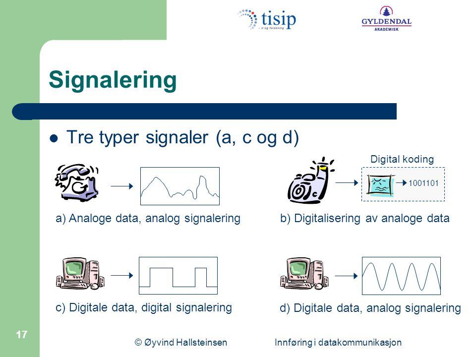 © Øyvind Hallsteinsen Innføring i datakommunikasjon 17 Signalering  Tre typer signaler (a, c og d) a) Analoge data, analog signalering 1001101 Digita