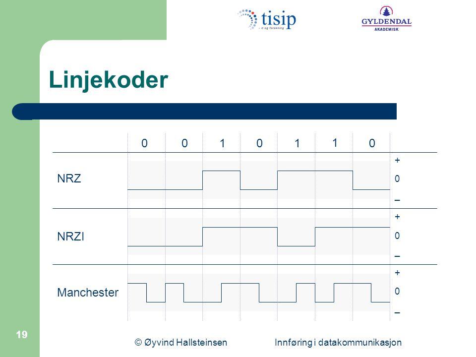 © Øyvind Hallsteinsen Innføring i datakommunikasjon 19 Linjekoder NRZ NRZI Manchester 0 0 + _ 101 1 00 0 + _ 0 + _
