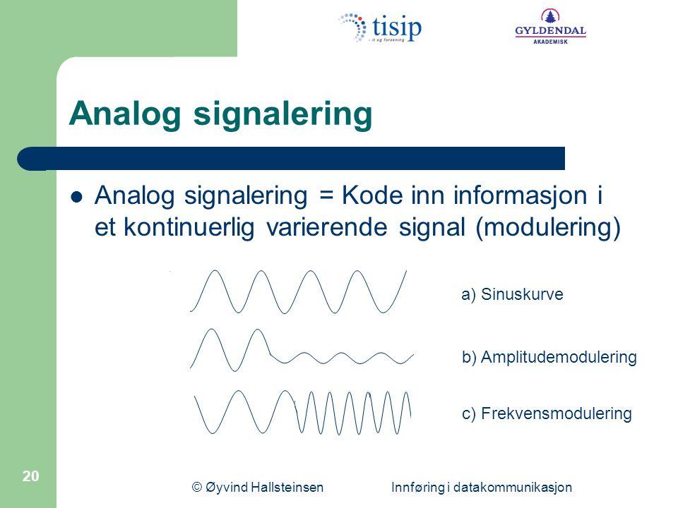 © Øyvind Hallsteinsen Innføring i datakommunikasjon 20 Analog signalering  Analog signalering = Kode inn informasjon i et kontinuerlig varierende sig
