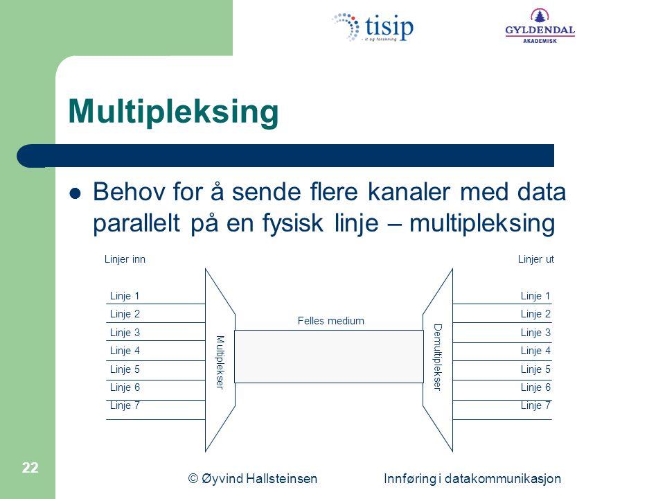 © Øyvind Hallsteinsen Innføring i datakommunikasjon 22 Multipleksing  Behov for å sende flere kanaler med data parallelt på en fysisk linje – multipl