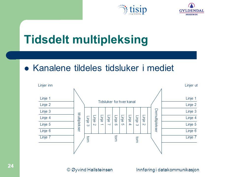 © Øyvind Hallsteinsen Innføring i datakommunikasjon 24 Tidsdelt multipleksing  Kanalene tildeles tidsluker i mediet Linjer inn Linje 1 Linje 2 Linje