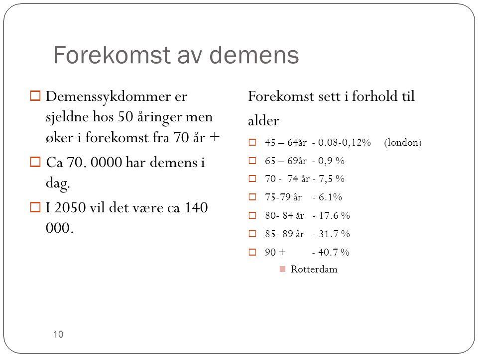 Forekomst av demens  Demenssykdommer er sjeldne hos 50 åringer men øker i forekomst fra 70 år +  Ca 70. 0000 har demens i dag.  I 2050 vil det være