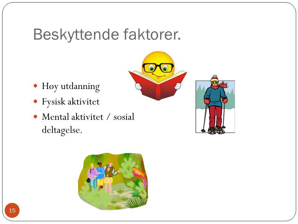 Beskyttende faktorer.  Høy utdanning  Fysisk aktivitet  Mental aktivitet / sosial deltagelse. ) 15