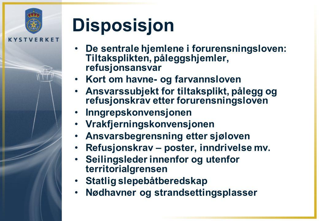 Disposisjon •De sentrale hjemlene i forurensningsloven: Tiltaksplikten, påleggshjemler, refusjonsansvar •Kort om havne- og farvannsloven •Ansvarssubje
