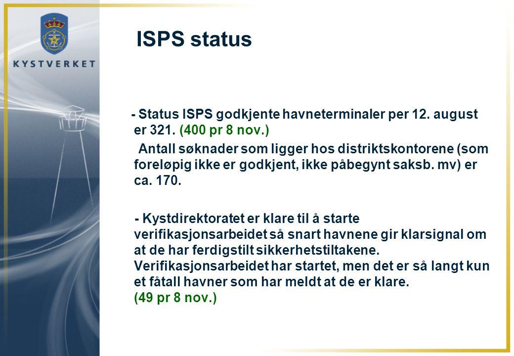 ISPS status - Status ISPS godkjente havneterminaler per 12. august er 321. (400 pr 8 nov.) Antall søknader som ligger hos distriktskontorene (som fore