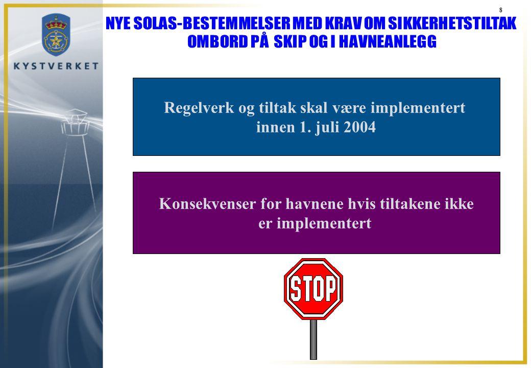 8 Regelverk og tiltak skal være implementert innen 1. juli 2004 Konsekvenser for havnene hvis tiltakene ikke er implementert