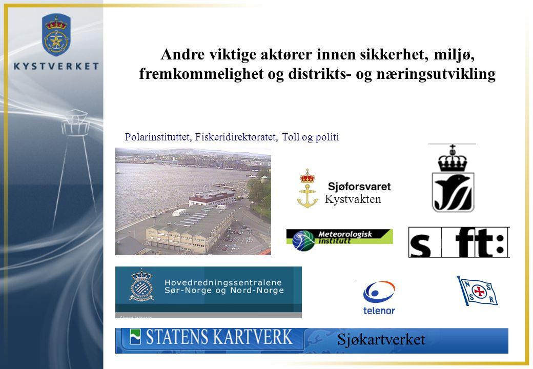 Andre viktige aktører innen sikkerhet, miljø, fremkommelighet og distrikts- og næringsutvikling Kystvakten Polarinstituttet, Fiskeridirektoratet, Toll