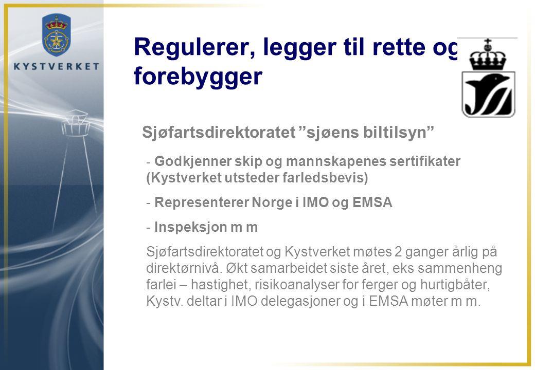 """Regulerer, legger til rette og forebygger Sjøfartsdirektoratet """"sjøens biltilsyn"""" - Godkjenner skip og mannskapenes sertifikater (Kystverket utsteder"""