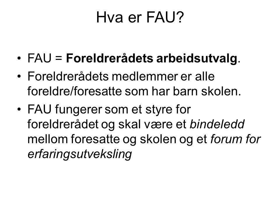 Hva er FAU? •FAU = Foreldrerådets arbeidsutvalg. •Foreldrerådets medlemmer er alle foreldre/foresatte som har barn skolen. •FAU fungerer som et styre