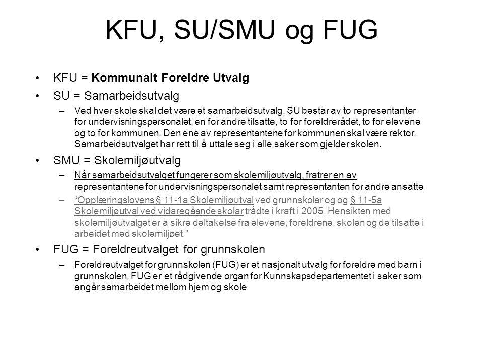 KFU, SU/SMU og FUG •KFU = Kommunalt Foreldre Utvalg •SU = Samarbeidsutvalg –Ved hver skole skal det være et samarbeidsutvalg. SU består av to represen