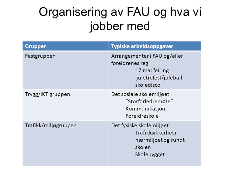Organisering av FAU og hva vi jobber med GrupperTypiske arbeidsoppgaver FestgruppenArrangementer i FAU og/eller foreldrenes regi 17.mai feiring juletr