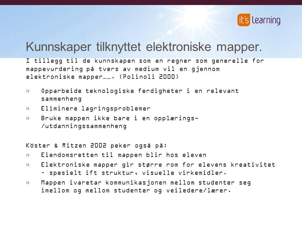 Kunnskaper tilknyttet elektroniske mapper.
