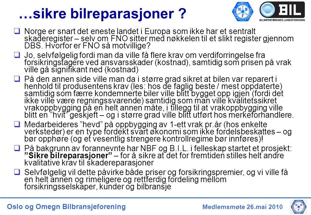 Oslo og Omegn Bilbransjeforening Medlemsmøte 26.mai 2010 …sikre bilreparasjoner .
