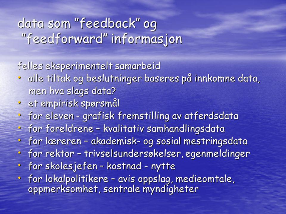data som feedback og feedforward informasjon felles eksperimentelt samarbeid • alle tiltak og beslutninger baseres på innkomne data, men hva slags data.