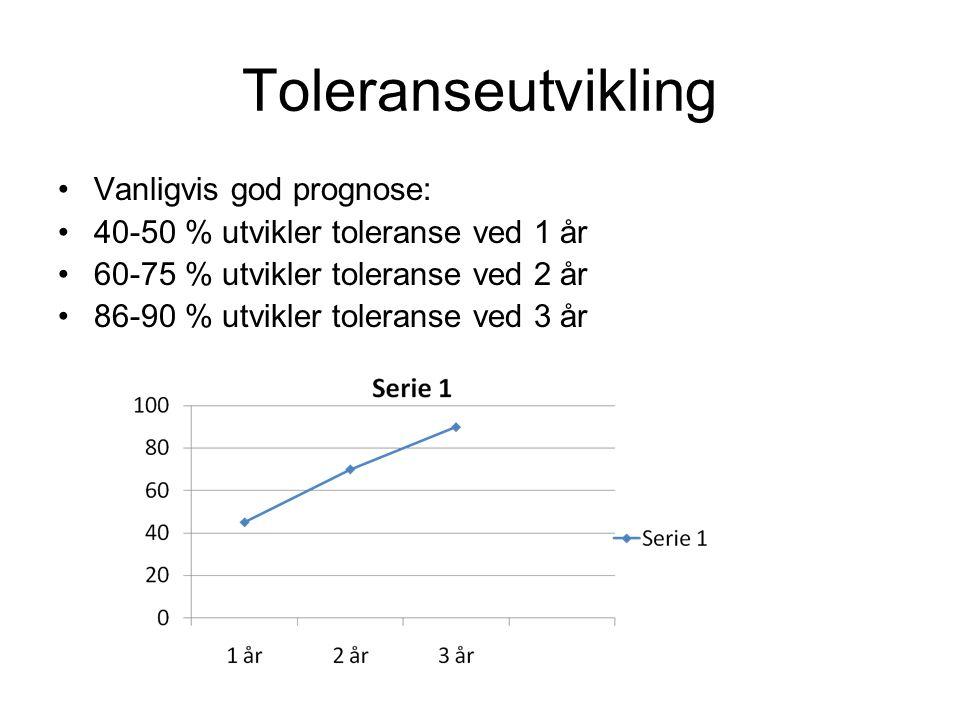 Toleranseutvikling •Vanligvis god prognose: •40-50 % utvikler toleranse ved 1 år •60-75 % utvikler toleranse ved 2 år •86-90 % utvikler toleranse ved