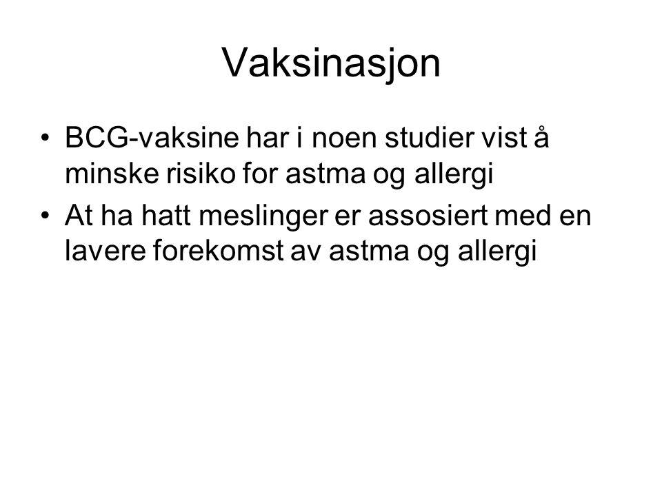 Vaksinasjon •BCG-vaksine har i noen studier vist å minske risiko for astma og allergi •At ha hatt meslinger er assosiert med en lavere forekomst av as