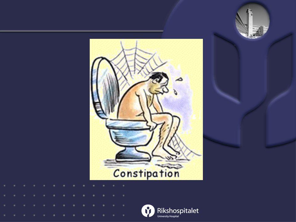 •Treg mage: - Kostholdsråd, fiber i maten - Rikelig drikke - Fysisk aktivitet - Laktulose - Andre avføringsmidler, OBS avhengighet .