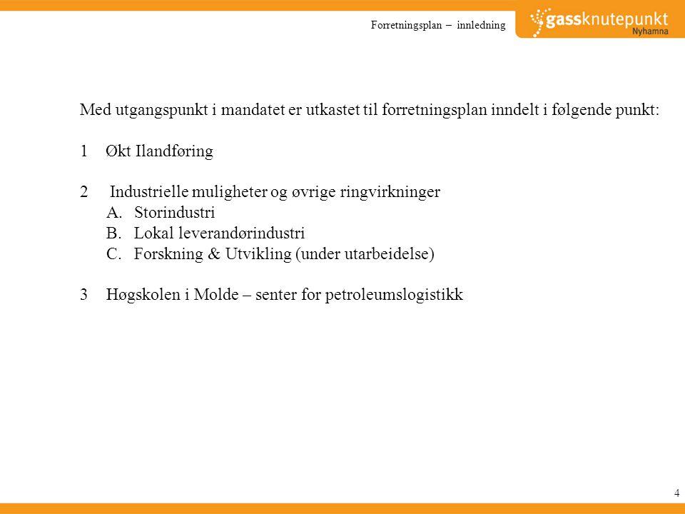Strategi – Lokal leverandørindustri 45 1.Arbeidet koordineres av Gassknutepunkt Nyhamna i tett samarbeid med Shell, Sensacon og Nortex Management.