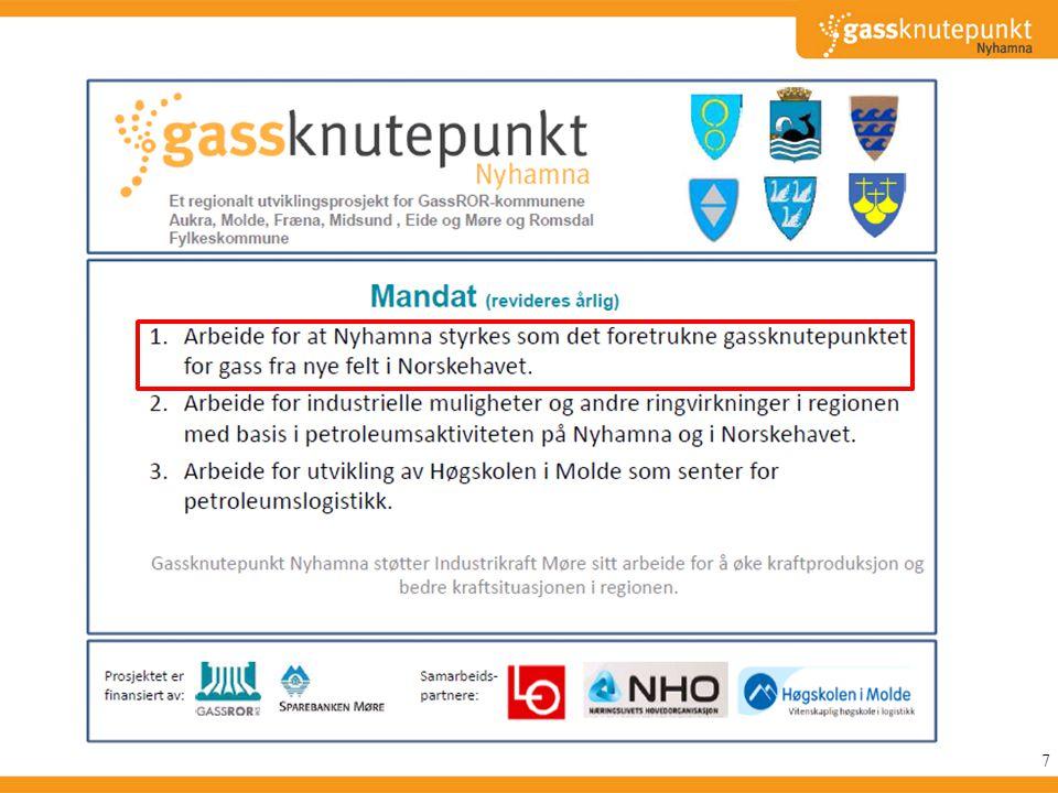 Mandat 1: Arbeide for at Nyhamna styrkes som det foretrukne gassknutepunktet for gass fra nye felt i Norskehavet.