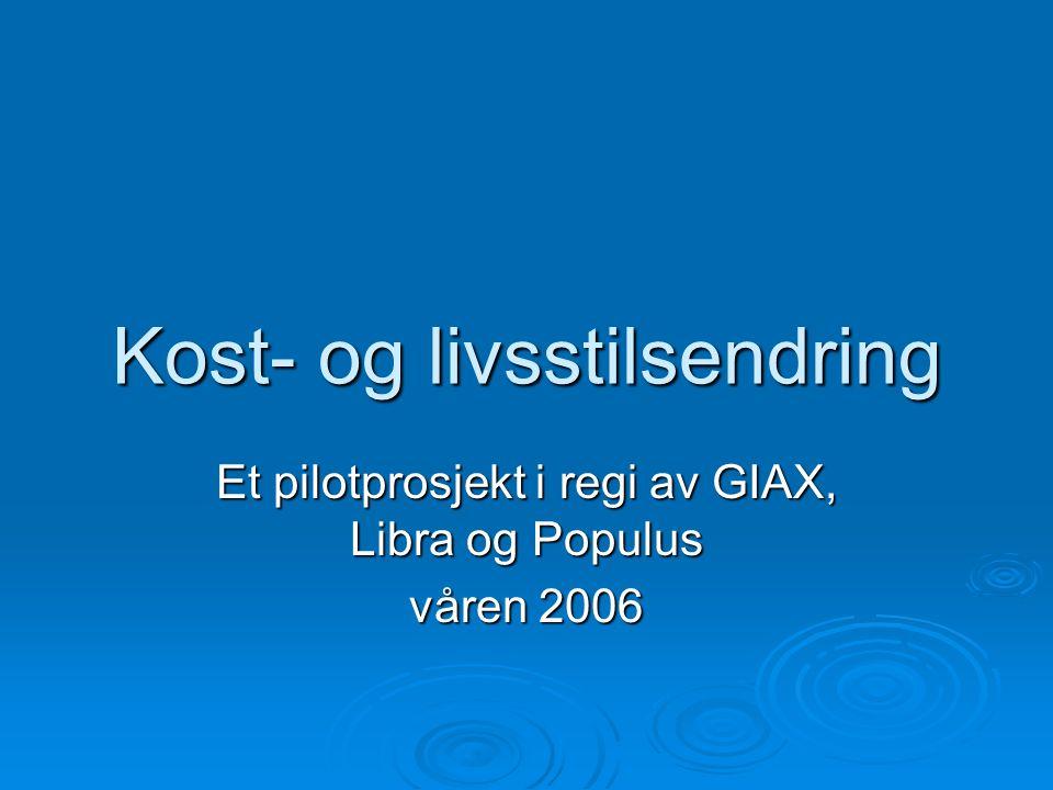 Kost- og livsstilsendring Et pilotprosjekt i regi av GIAX, Libra og Populus våren 2006