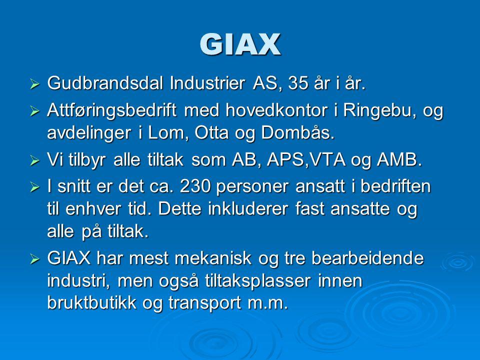 GIAX  Gudbrandsdal Industrier AS, 35 år i år.  Attføringsbedrift med hovedkontor i Ringebu, og avdelinger i Lom, Otta og Dombås.  Vi tilbyr alle ti