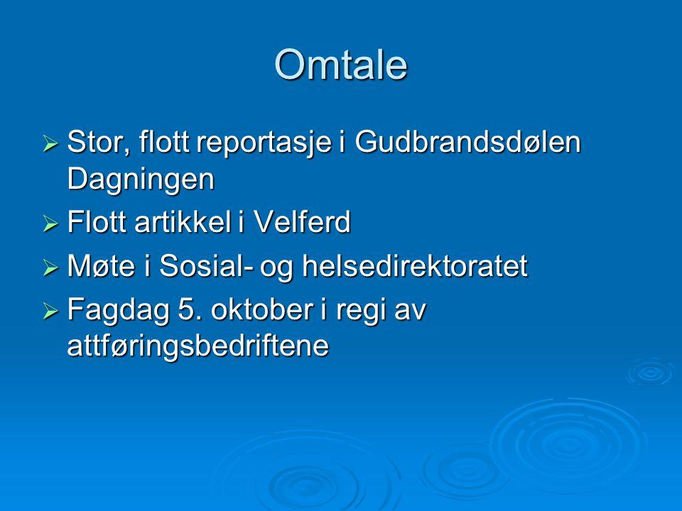 Omtale  Stor, flott reportasje i Gudbrandsdølen Dagningen  Flott artikkel i Velferd  Møte i Sosial- og helsedirektoratet  Fagdag 5. oktober i regi