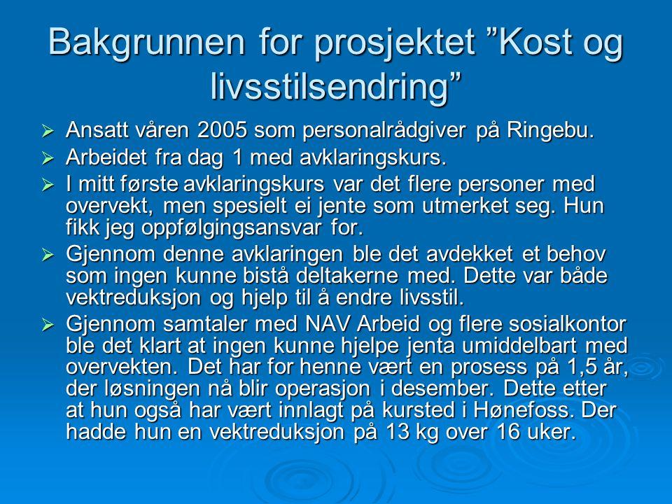 """Bakgrunnen for prosjektet """"Kost og livsstilsendring""""  Ansatt våren 2005 som personalrådgiver på Ringebu.  Arbeidet fra dag 1 med avklaringskurs.  I"""