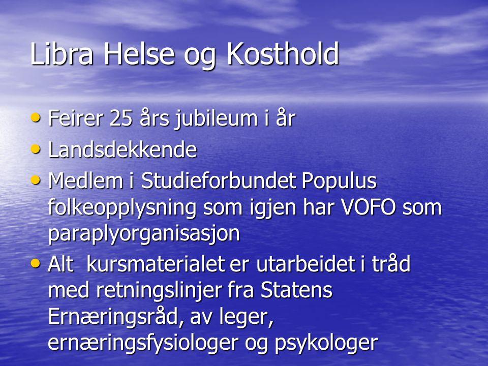 Libra Helse og Kosthold • Feirer 25 års jubileum i år • Landsdekkende • Medlem i Studieforbundet Populus folkeopplysning som igjen har VOFO som parapl