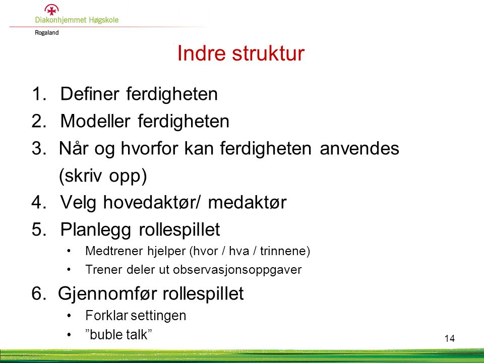 Indre struktur 1. Definer ferdigheten 2. Modeller ferdigheten 3.Når og hvorfor kan ferdigheten anvendes (skriv opp) 4. Velg hovedaktør/ medaktør 5. Pl