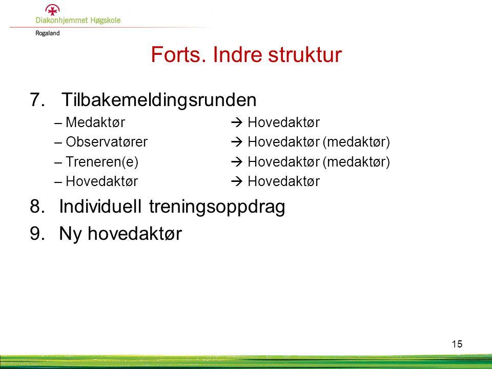 Forts. Indre struktur 7. Tilbakemeldingsrunden –Medaktør  Hovedaktør –Observatører  Hovedaktør (medaktør) –Treneren(e)  Hovedaktør (medaktør) –Hove