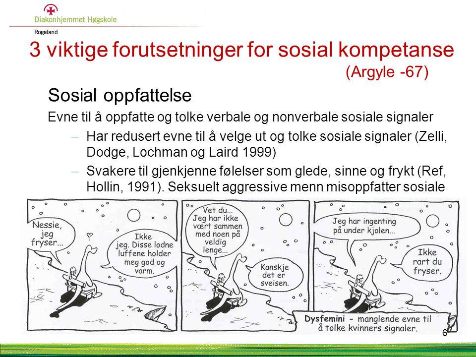 3 viktige forutsetninger for sosial kompetanse (Argyle -67) Sosial oppfattelse Evne til å oppfatte og tolke verbale og nonverbale sosiale signaler –Har redusert evne til å velge ut og tolke sosiale signaler (Zelli, Dodge, Lochman og Laird 1999) –Svakere til gjenkjenne følelser som glede, sinne og frykt (Ref, Hollin, 1991).