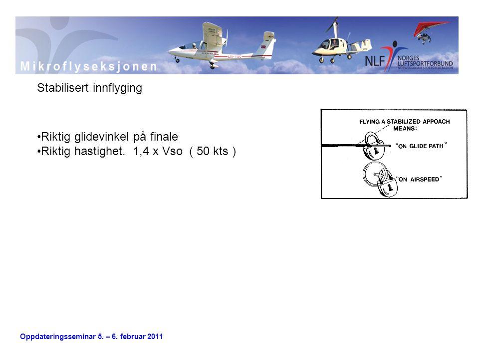 Oppdateringsseminar 5.– 6. februar 2011 •Riktig glidevinkel på finale •Riktig hastighet.