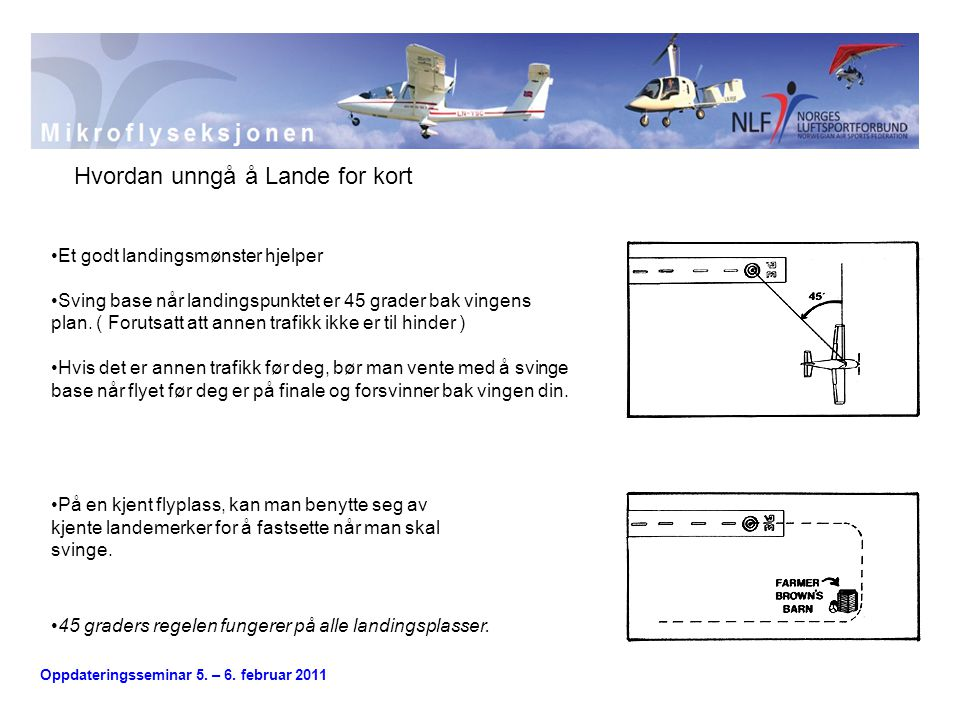 Oppdateringsseminar 5. – 6. februar 2011 Vindusmetoden Hvordan unngå å Lande for kort