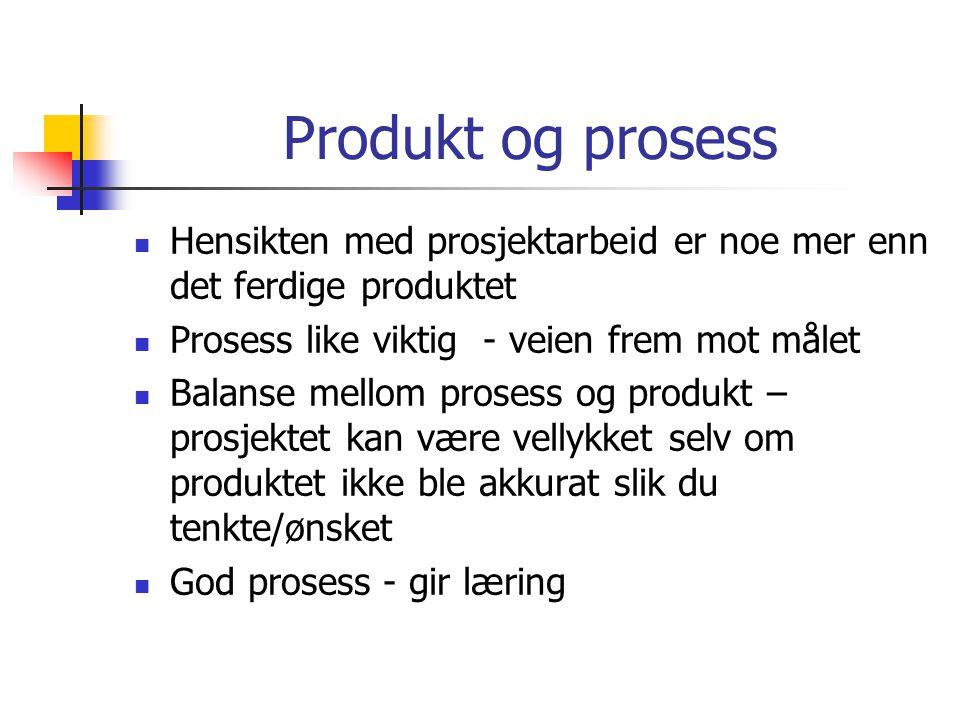 Produkt og prosess  Hensikten med prosjektarbeid er noe mer enn det ferdige produktet  Prosess like viktig - veien frem mot målet  Balanse mellom p