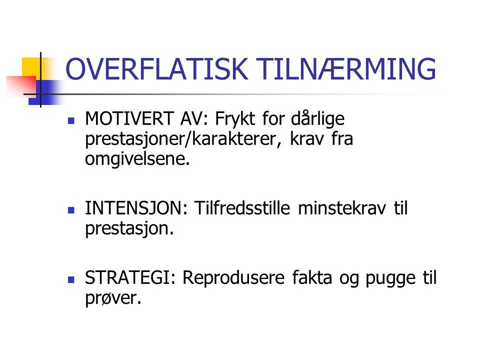 DYBDE TILNÆRMING  MOTIVERT AV: Egen interesse for faget.