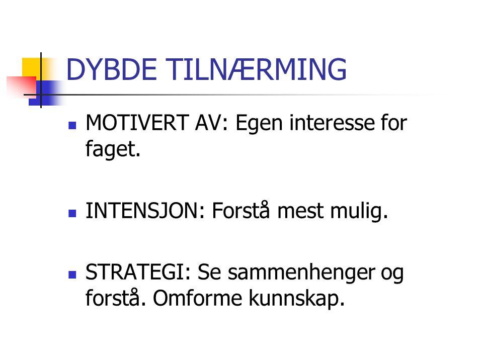 STRATEGISK TILNÆRMING  MOTIVERT AV: Prestasjoner.