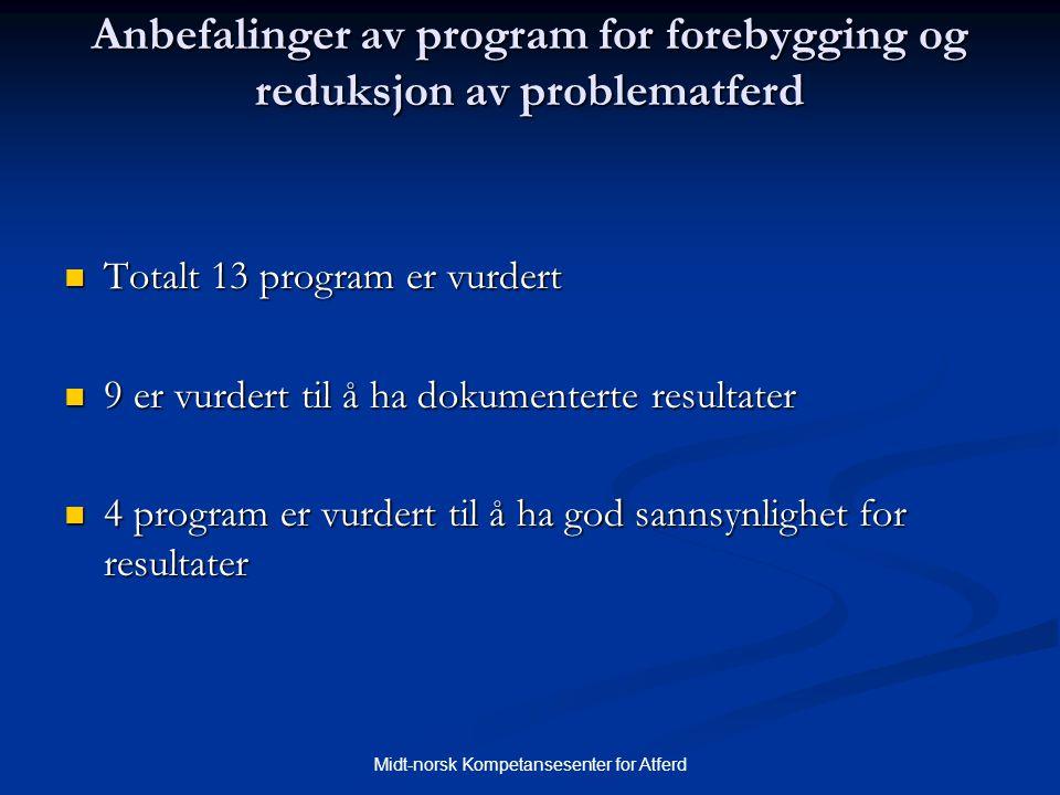 Midt-norsk Kompetansesenter for Atferd Anbefalinger av program for forebygging og reduksjon av problematferd  Totalt 13 program er vurdert  9 er vur