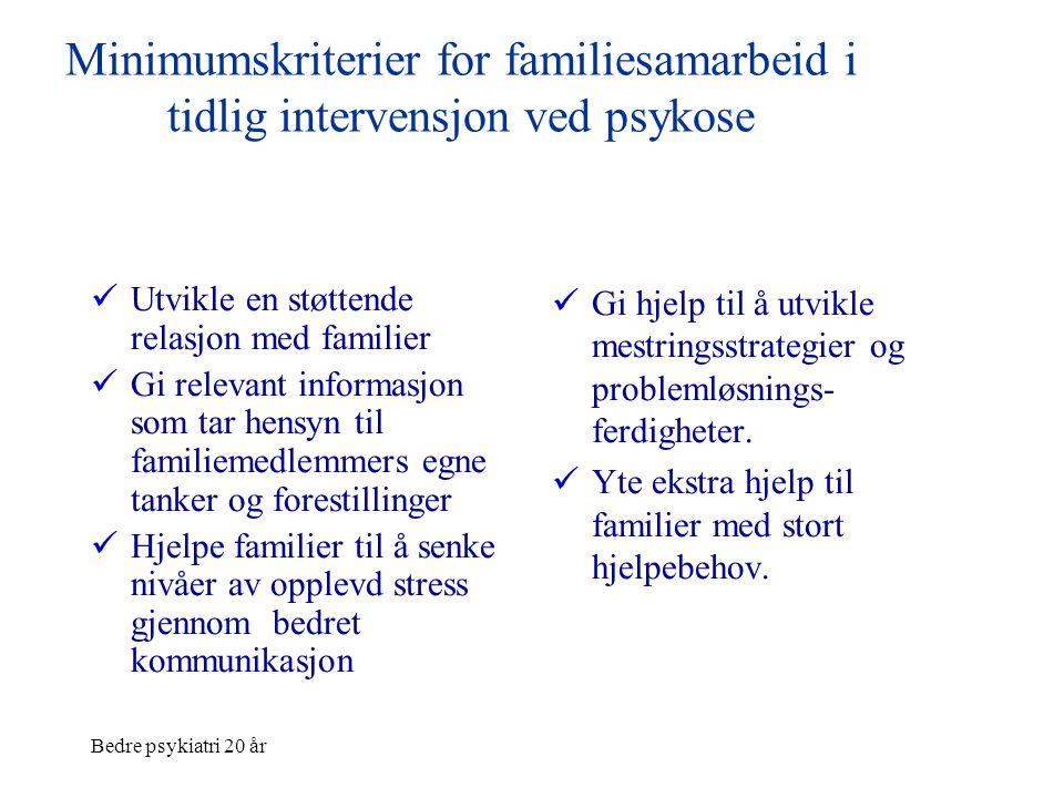 Bedre psykiatri 20 år Minimumskriterier for familiesamarbeid i tidlig intervensjon ved psykose  Utvikle en støttende relasjon med familier  Gi relev