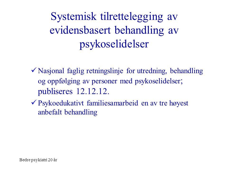 Bedre psykiatri 20 år Systemisk tilrettelegging av evidensbasert behandling av psykoselidelser  Nasjonal faglig retningslinje for utredning, behandli