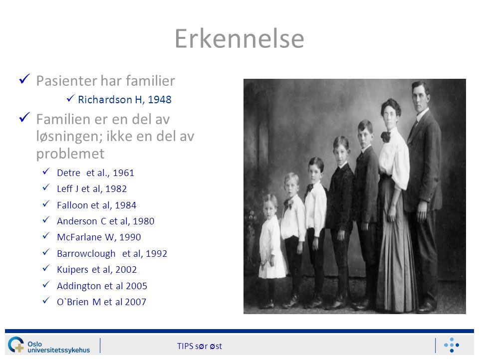Bedre psykiatri 20 år Psykoedukativt familiesamarbeid i TIPS prosjektet; Norge og Danmark(1997-2000) ED: Stavanger & Haugesund(N) NED: Oslo(N) & Roskilde(D)
