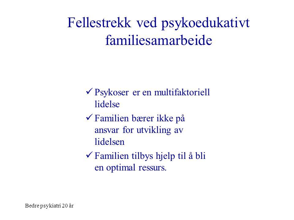 Bedre psykiatri 20 år Fellestrekk ved psykoedukativt familiesamarbeide Metode:  Familien inkluderes i behandlingsarbeidet som viktige samarbeidspartnere i bedringsprosessen  Strukturert og manualbasert  Pasientens deltagelse når det er mulig  Behovsstyrt tilbud
