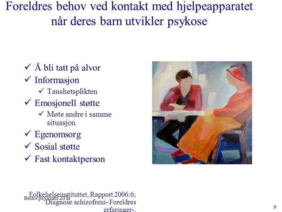 Bedre psykiatri 20 år 9 Foreldres behov ved kontakt med hjelpeapparatet når deres barn utvikler psykose  Å bli tatt på alvor  Informasjon  Taushets