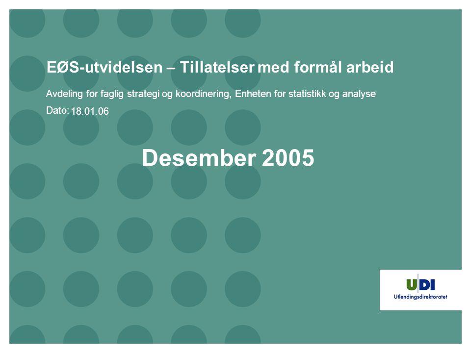 Dato: EØS-utvidelsen – Tillatelser med formål arbeid Avdeling for faglig strategi og koordinering, Enheten for statistikk og analyse Desember 2005 18.01.06