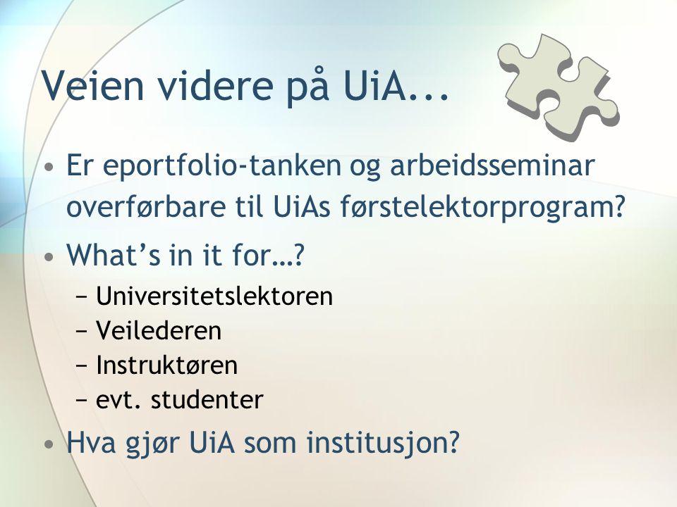 Veien videre på UiA... •Er eportfolio-tanken og arbeidsseminar overførbare til UiAs førstelektorprogram? •What's in it for…? −Universitetslektoren −Ve
