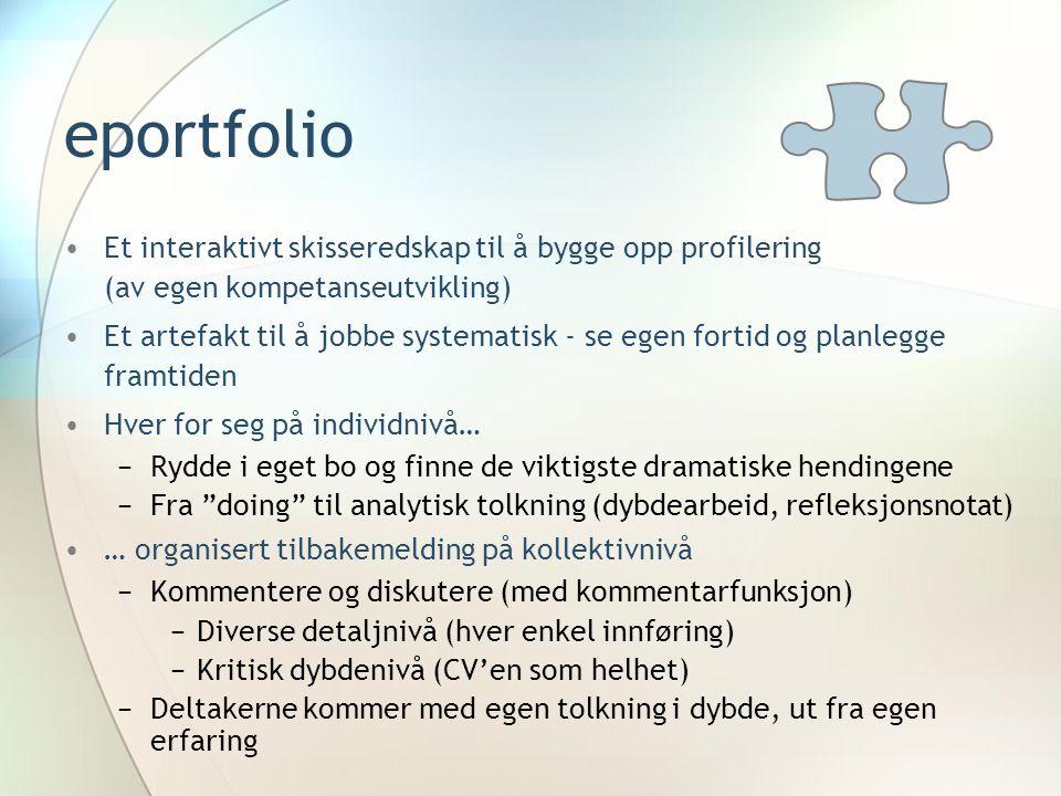 eportfolio •Et interaktivt skisseredskap til å bygge opp profilering (av egen kompetanseutvikling) •Et artefakt til å jobbe systematisk - se egen fort