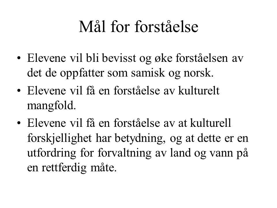 Mål for forståelse •Elevene vil bli bevisst og øke forståelsen av det de oppfatter som samisk og norsk. •Elevene vil få en forståelse av kulturelt man