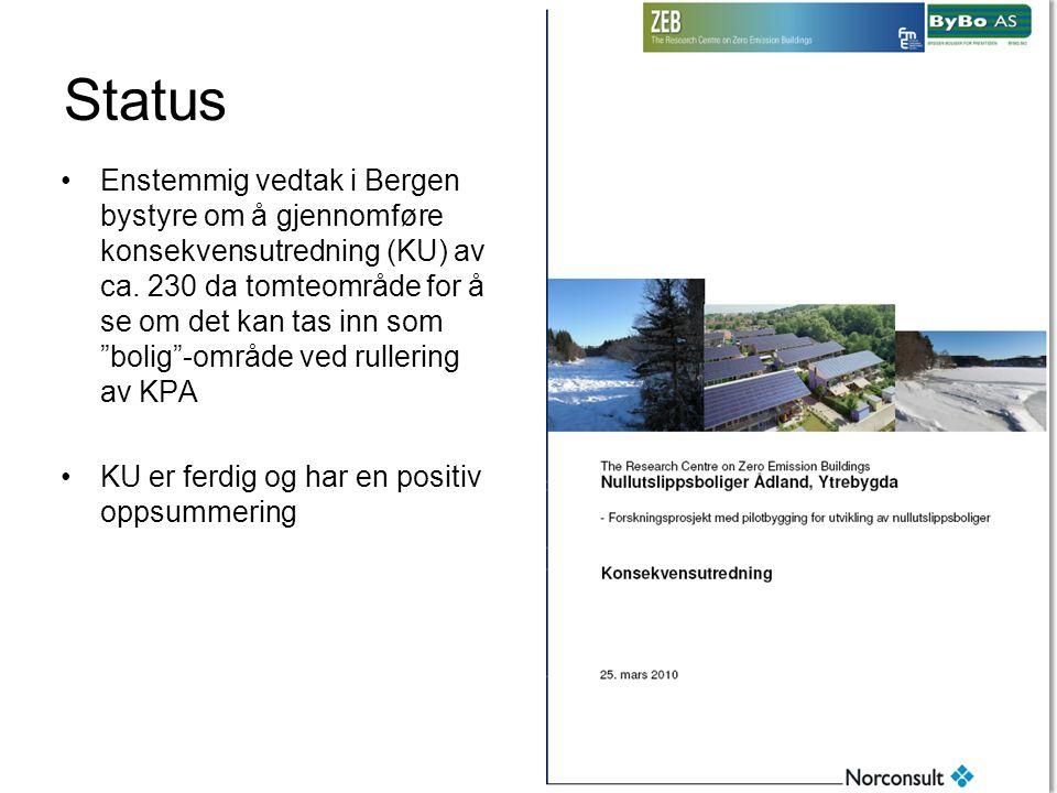 Status •Enstemmig vedtak i Bergen bystyre om å gjennomføre konsekvensutredning (KU) av ca.