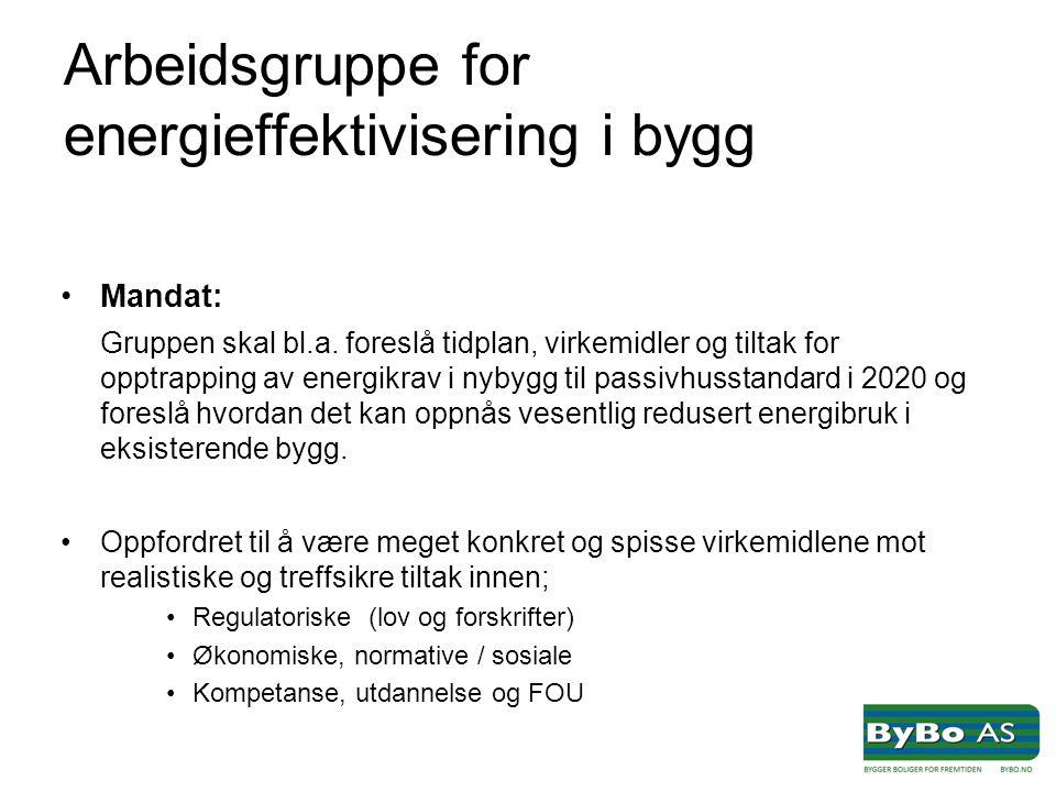 Arbeidsgruppe for energieffektivisering i bygg •Mandat: Gruppen skal bl.a.