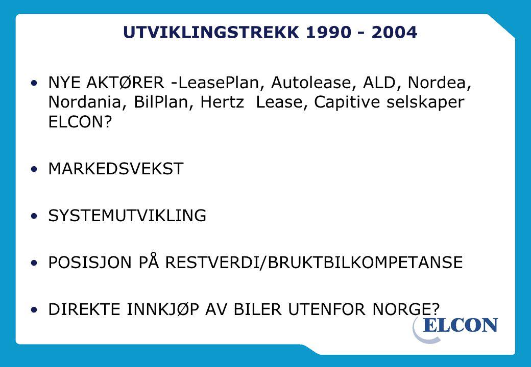 UTVIKLINGSTREKK 1990 - 2004 •NYE AKTØRER -LeasePlan, Autolease, ALD, Nordea, Nordania, BilPlan, Hertz Lease, Capitive selskaper ELCON.