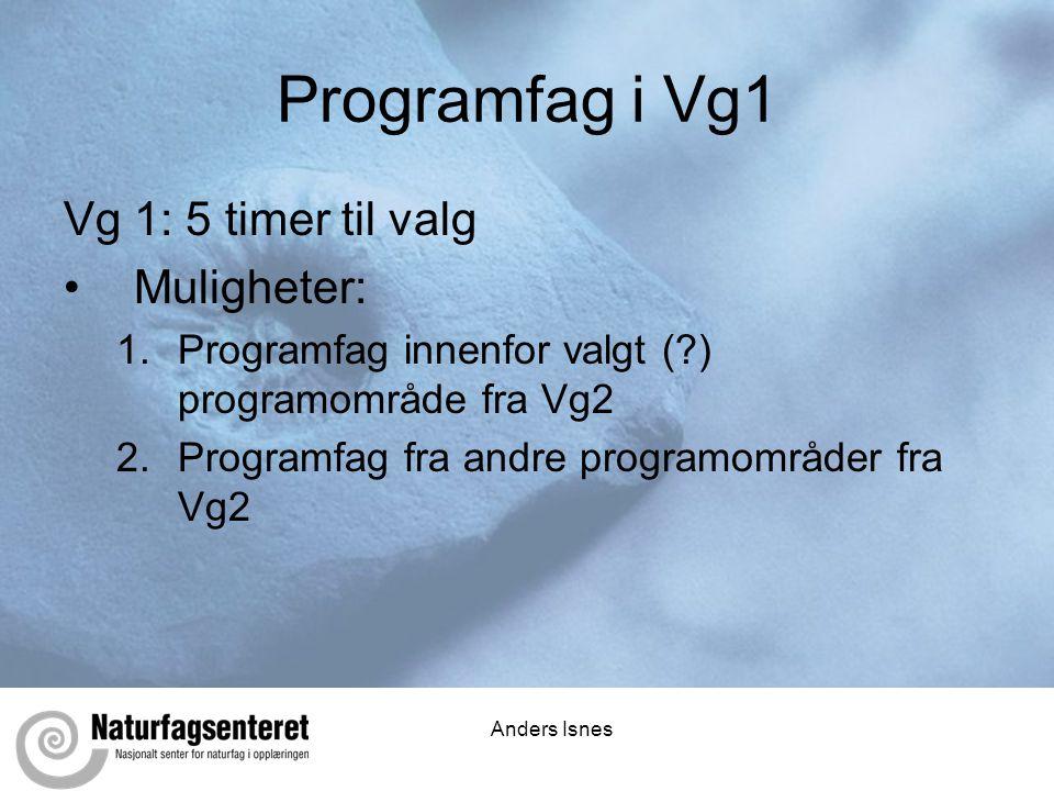 Anders Isnes Programfag i Vg1 Vg 1: 5 timer til valg •Muligheter: 1.Programfag innenfor valgt (?) programområde fra Vg2 2.Programfag fra andre programområder fra Vg2